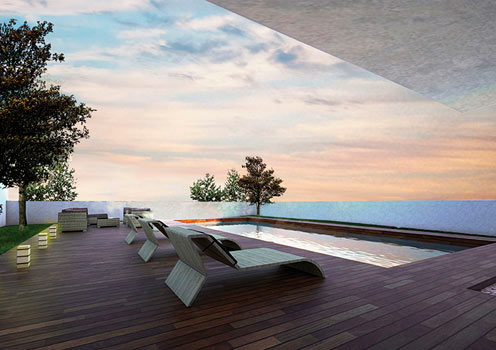 An artist's impression of the roof top pool