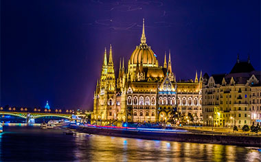 The illuminated building of the Hungarian Parliament, Budapest