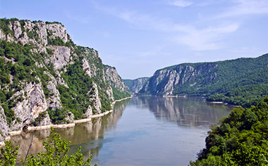 The Iron Gate Gorge on the Danube River