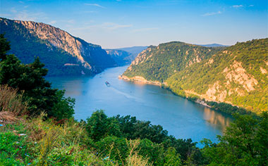 The Iron Gate gorge on the Danube between Serbia and Romania