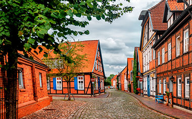 Small town Nienburg at the river Weser, Lower Saxony