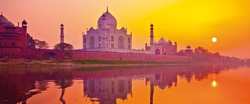 The Taj Mahal at sunset, India