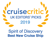 Cruise Critic UK Editors' Picks 2019 Winner Spirit of Discovery Best New Cruise Ship