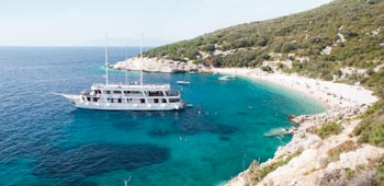 MV Dalmatia on the shores of Croatia