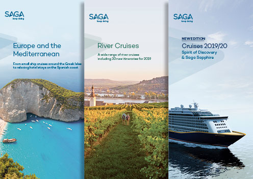 Our Europe and the Mediterranean, River Cruises and Saga Cruises brochure covers