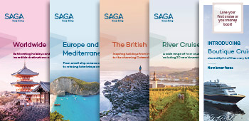 Our Worldwide, Europe and the Mediterranean, British Isles, River Cruises and Saga Cruises brochure covers