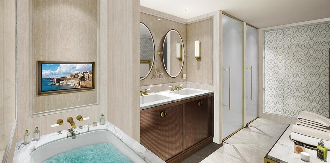 An artist's impression of a Spirit of Discovery bathroom.