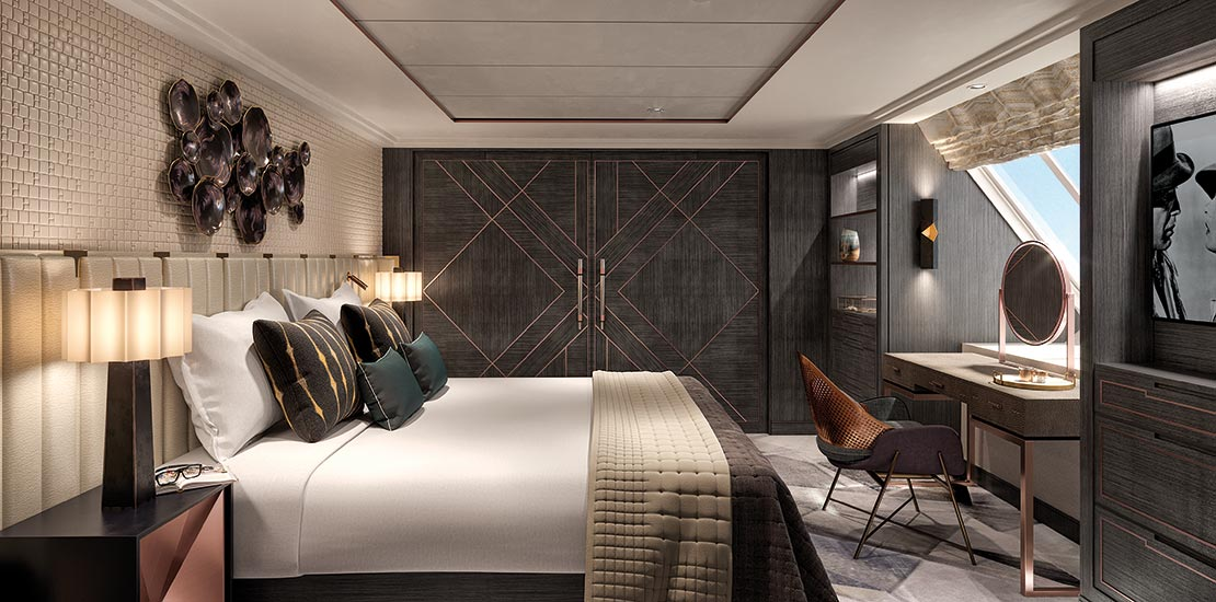 An artist's impression of the bedroom of Forward Suite C001