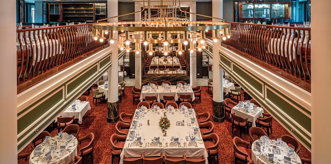 The Grand Dining Room is Spirit of Discovery's main restaurant