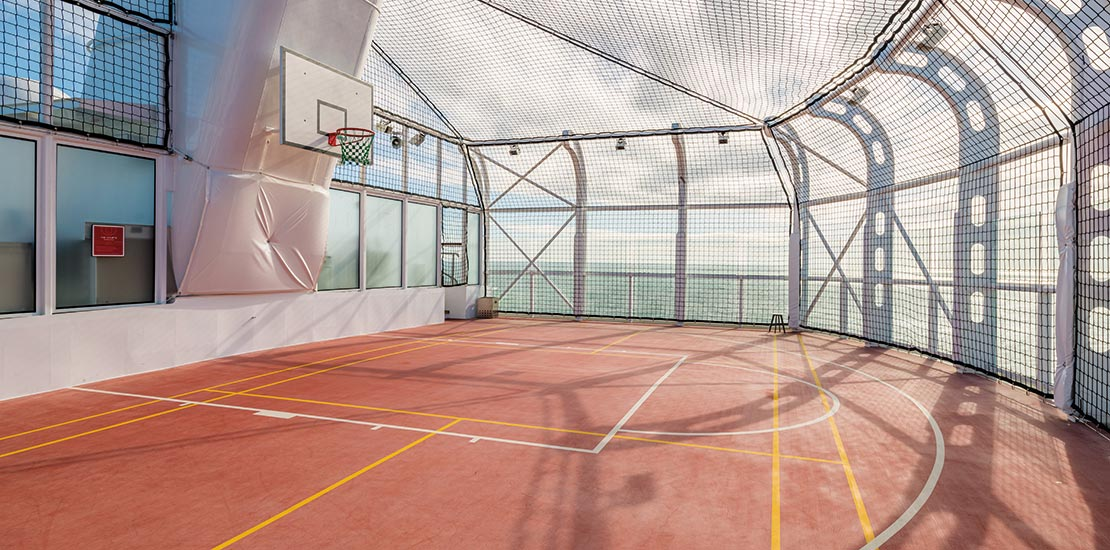 The full-sized basketball court