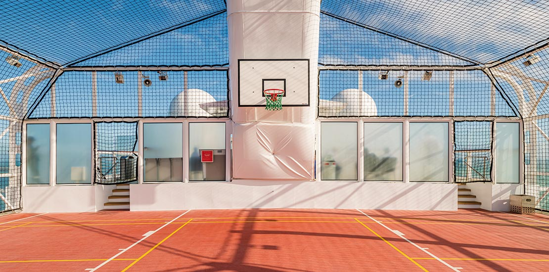 Why not shoot a few hoops on a sunny day at sea?