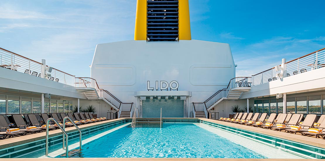The Lido is Spirit of Discovery's main swimming pool
