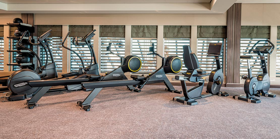 Equipment includes rowing machines and exercise bikes