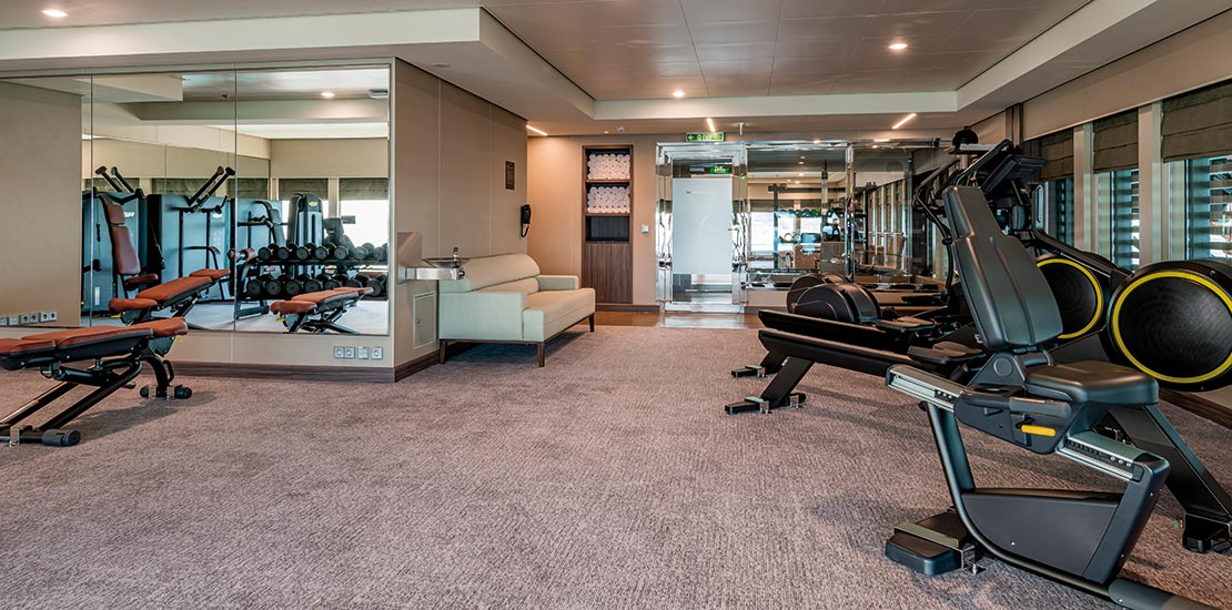 Our high-tech gym is located on the Sun deck