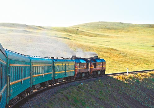 The colourful Trans-Siberian Railway train