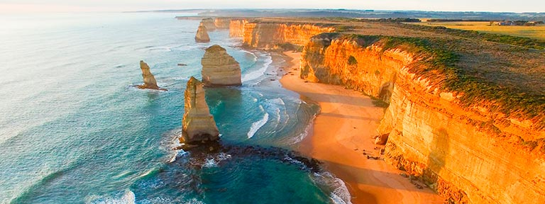 An aerial view of the 12 Apostles
