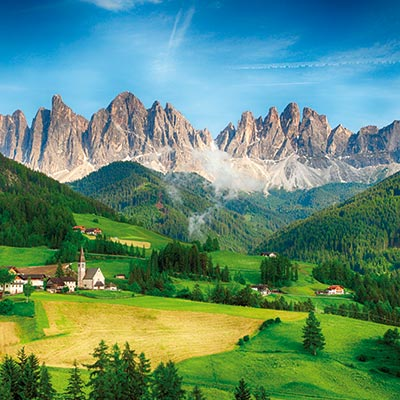The distinctive peaks of the Dolomites