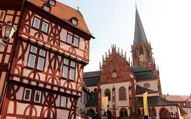 View of the basilica in the old town of Aschaffenburg