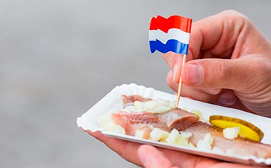 Traditional dutch food: herring with onion