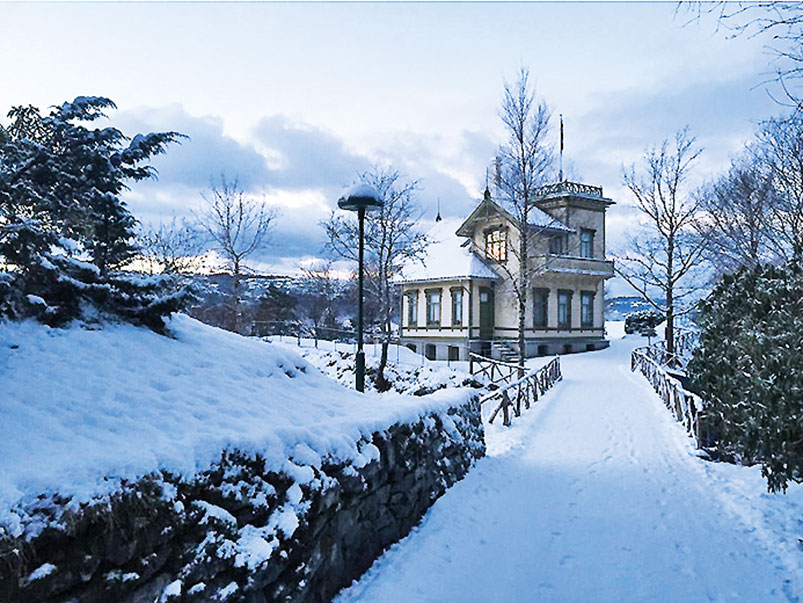 Winter view of Troldhaugen, Grieg's home