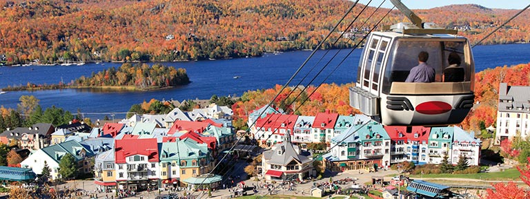 Cable car over Mont Tremblant Lake in Quebec