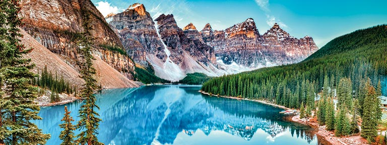 The beautiful blue waters of Moraine Lake in Banff National Park