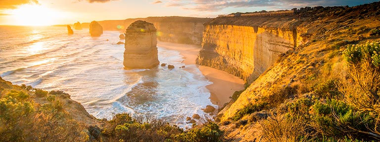 The beautiful Twelve Apostles at sunset