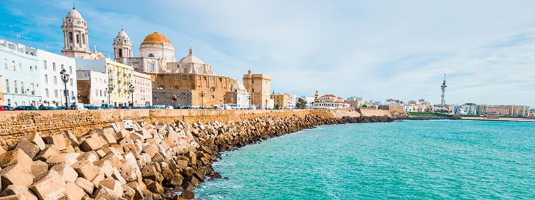 The Cadiz seafront and Cathedral